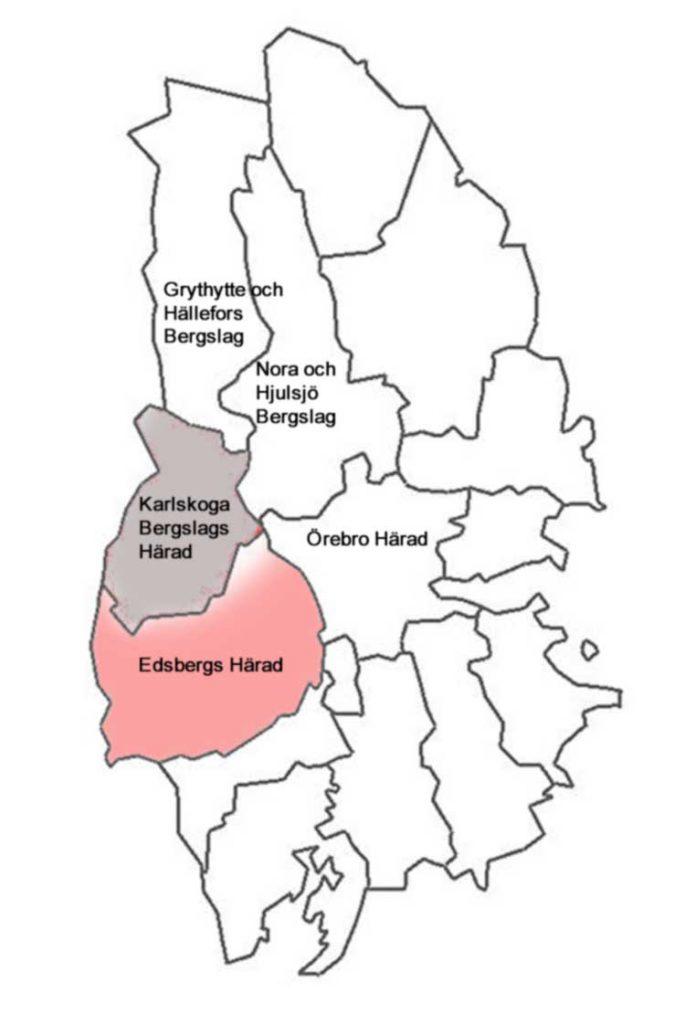 Karlskoga Härad med grannhäraden inom nuvarande Örebro Län. I Väster gränsade Karlskoga mot Visnums, Ölme och Färnebo häraden