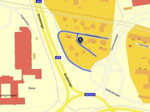 Uddenbergsvägen blåmarkerad på kartan
